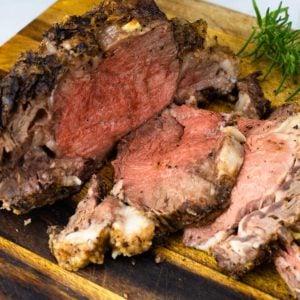 Sliced prime rib on a cutting board