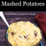 Cheesy Garlic Potatoes in a blue bowl