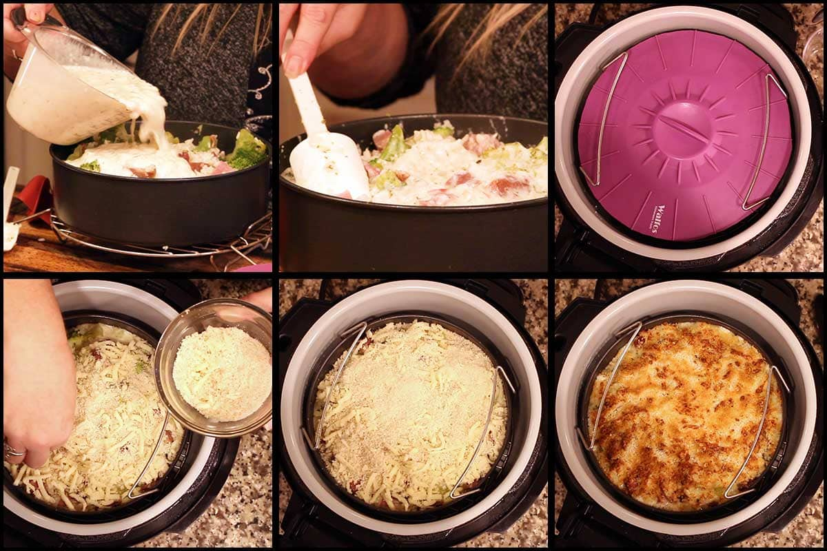 steps for pouring on the cheese sauce and baking, then adding panko topping and broiling