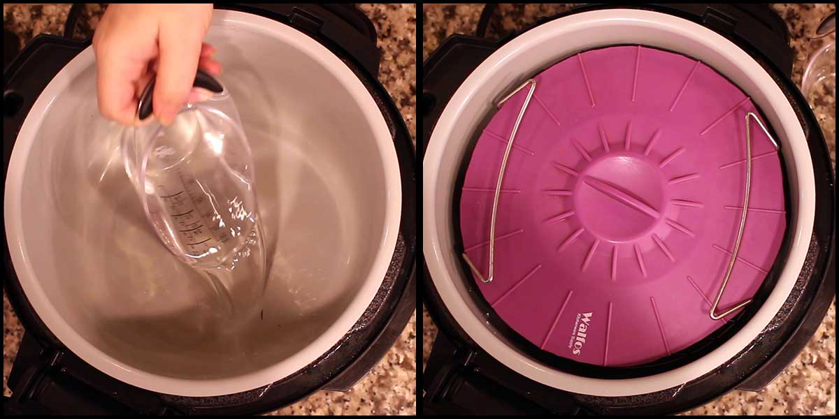 covering the pan with a silicone lid and adding water to the inner pot