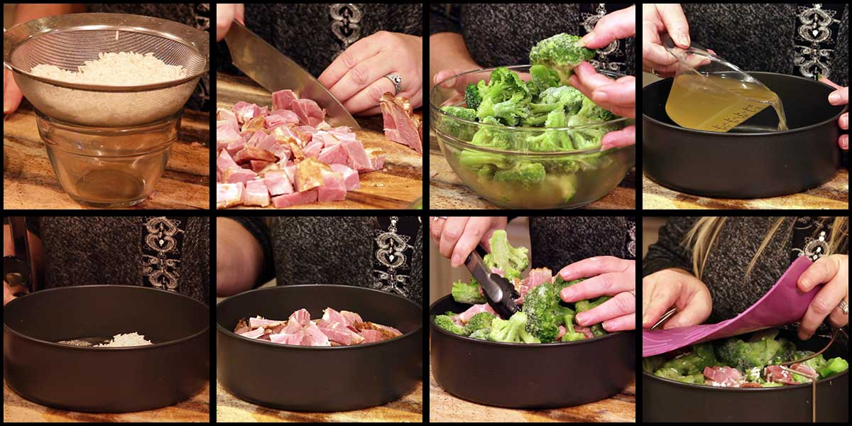 graphic showing first steps to making the ham and broccoli casserole