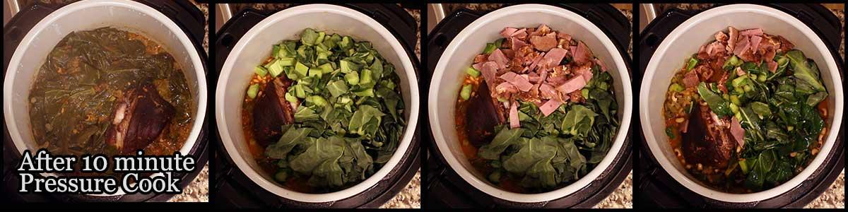 Adding in ham and remaining collard greens to hoppin john