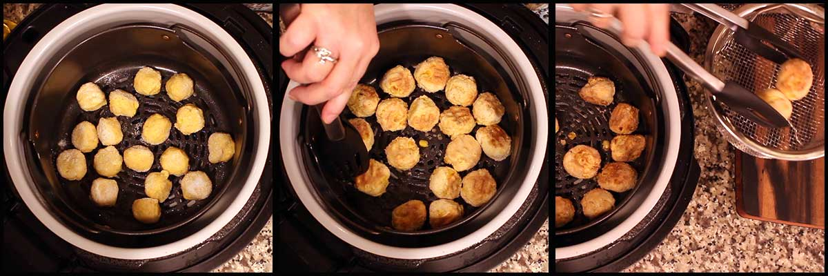 Air Frying the Hush Puppies