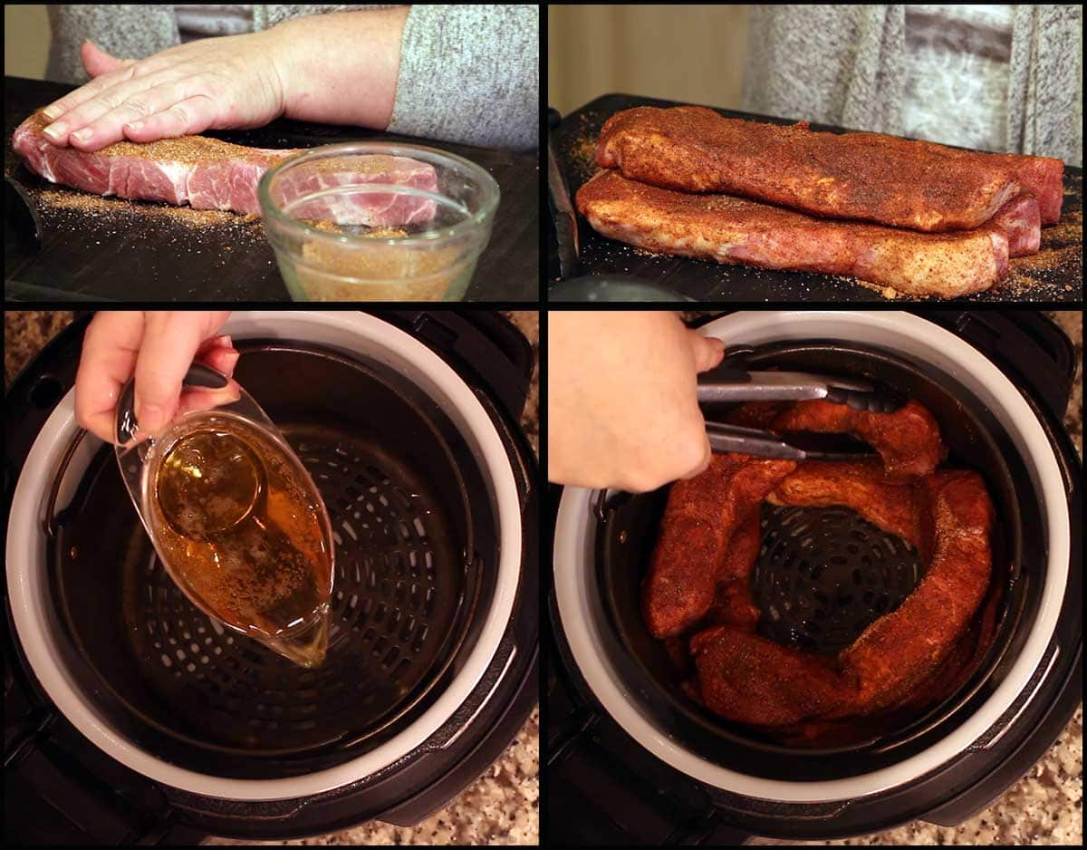rubbing the pork ribs and getting them in the basket