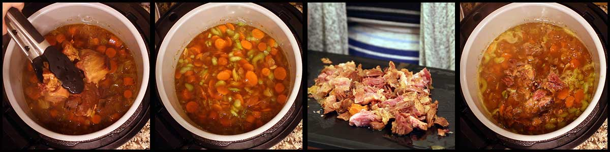 chopping the ham and adding it into the soup