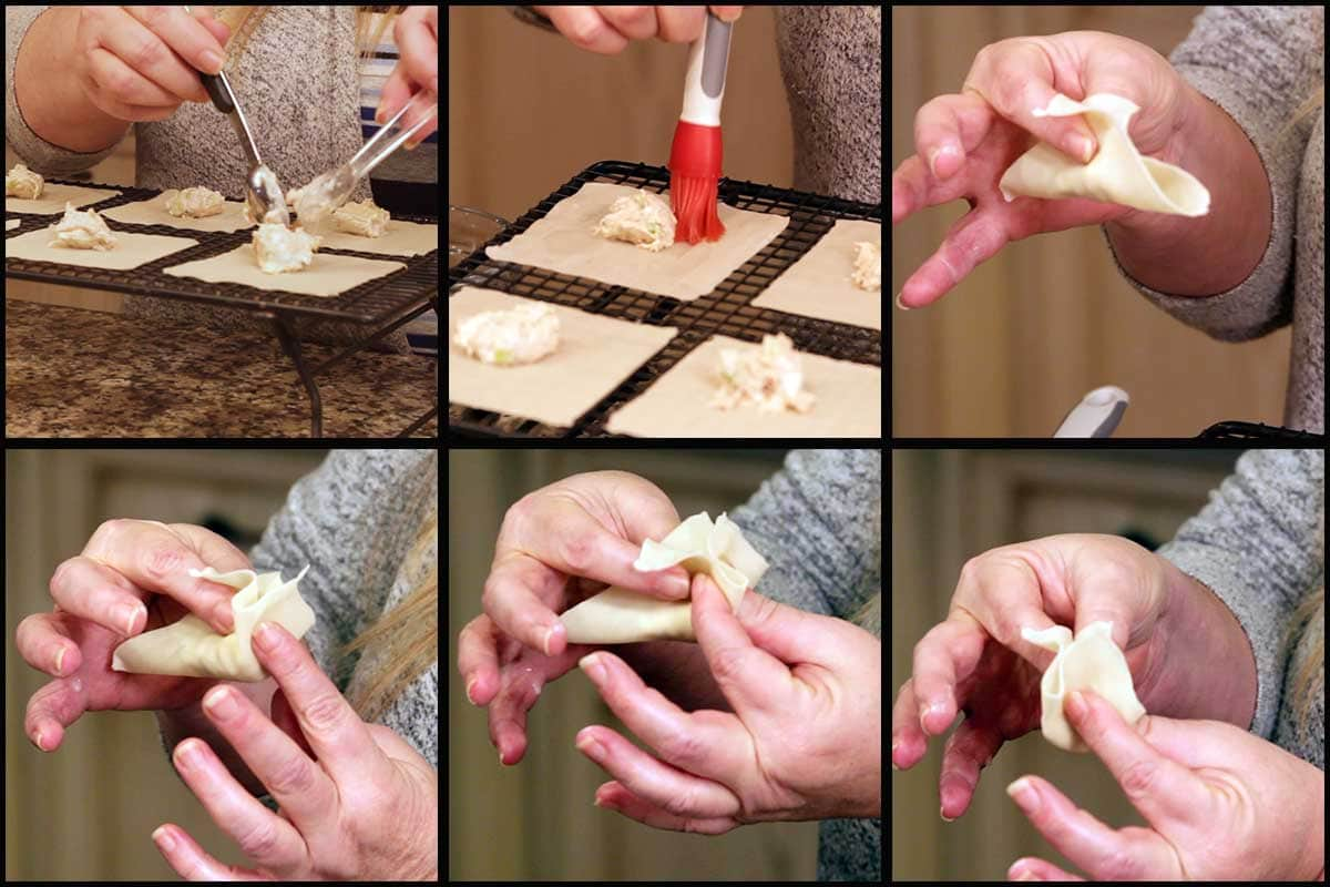 graphic showing how to fold crab rangoon