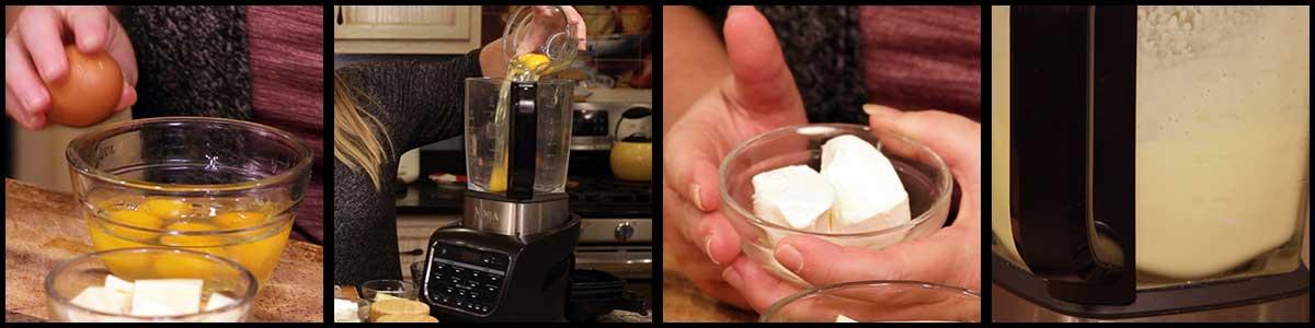 adding ingredients to the blender for egg bites