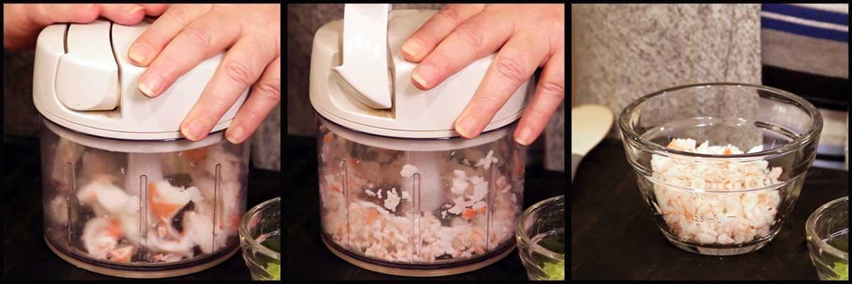 chopping the seafood for crab rangoon