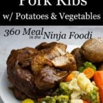 country style pork ribs plated with potato and vegetables