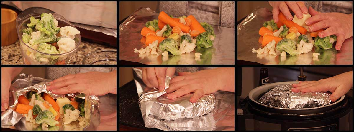 wrapping the vegetables in foil