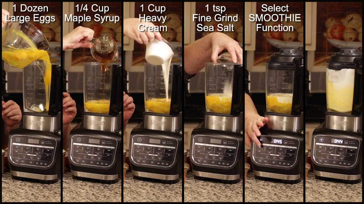 Mixing up the egg mixture in the NF Cold & Hot Blender