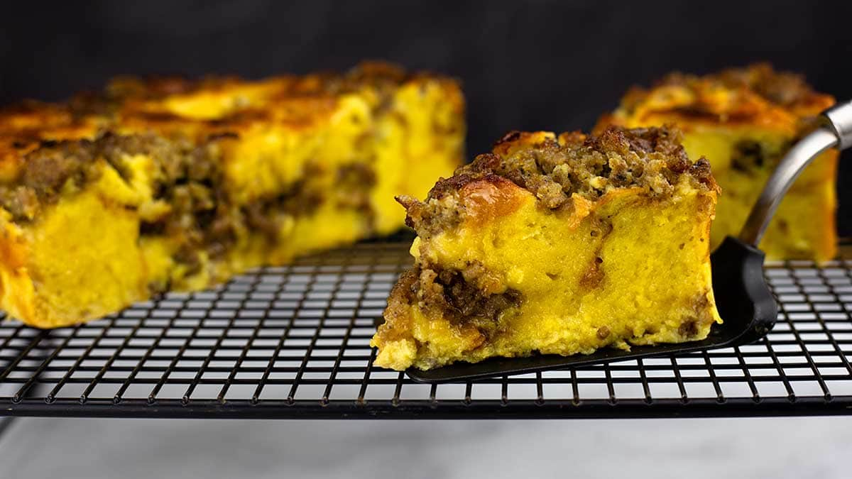 A slice of Breakfast bread pudding