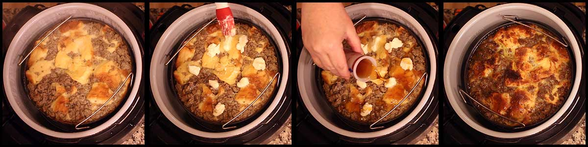 Adding butter and syrup to the top and broiling