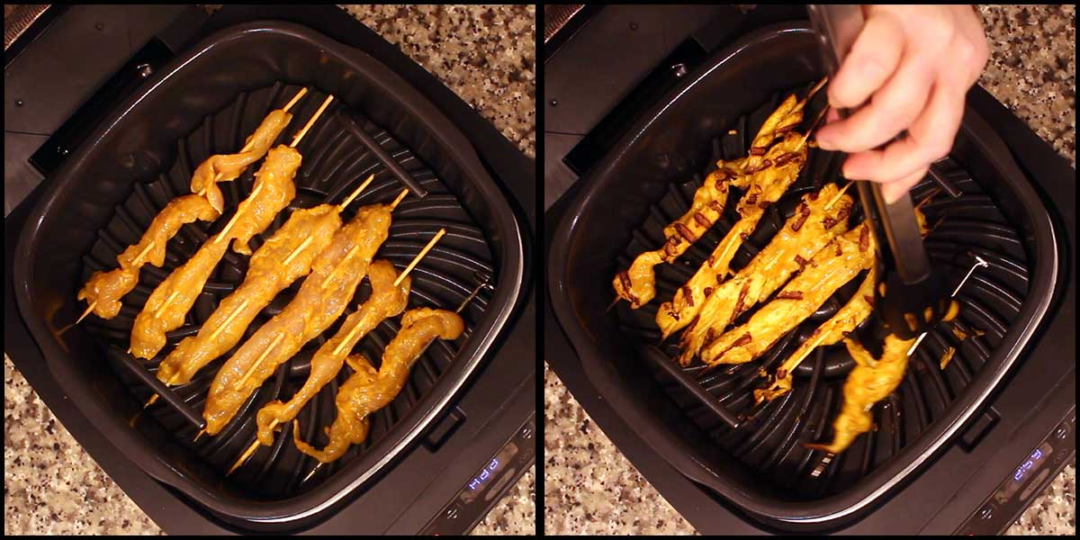 Grilling the Chicken Satay in the Ninja Foodi Grill