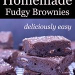 Homemade fudgy brownies stacked on a cooling rack