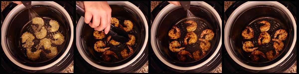 Steps for air frying coconut shrimp