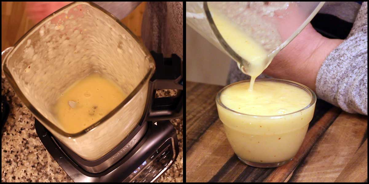 Blended and pouring pineapple sweet and sour sace