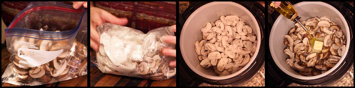 Coating the mushrooms with flour and adding to the inner pot