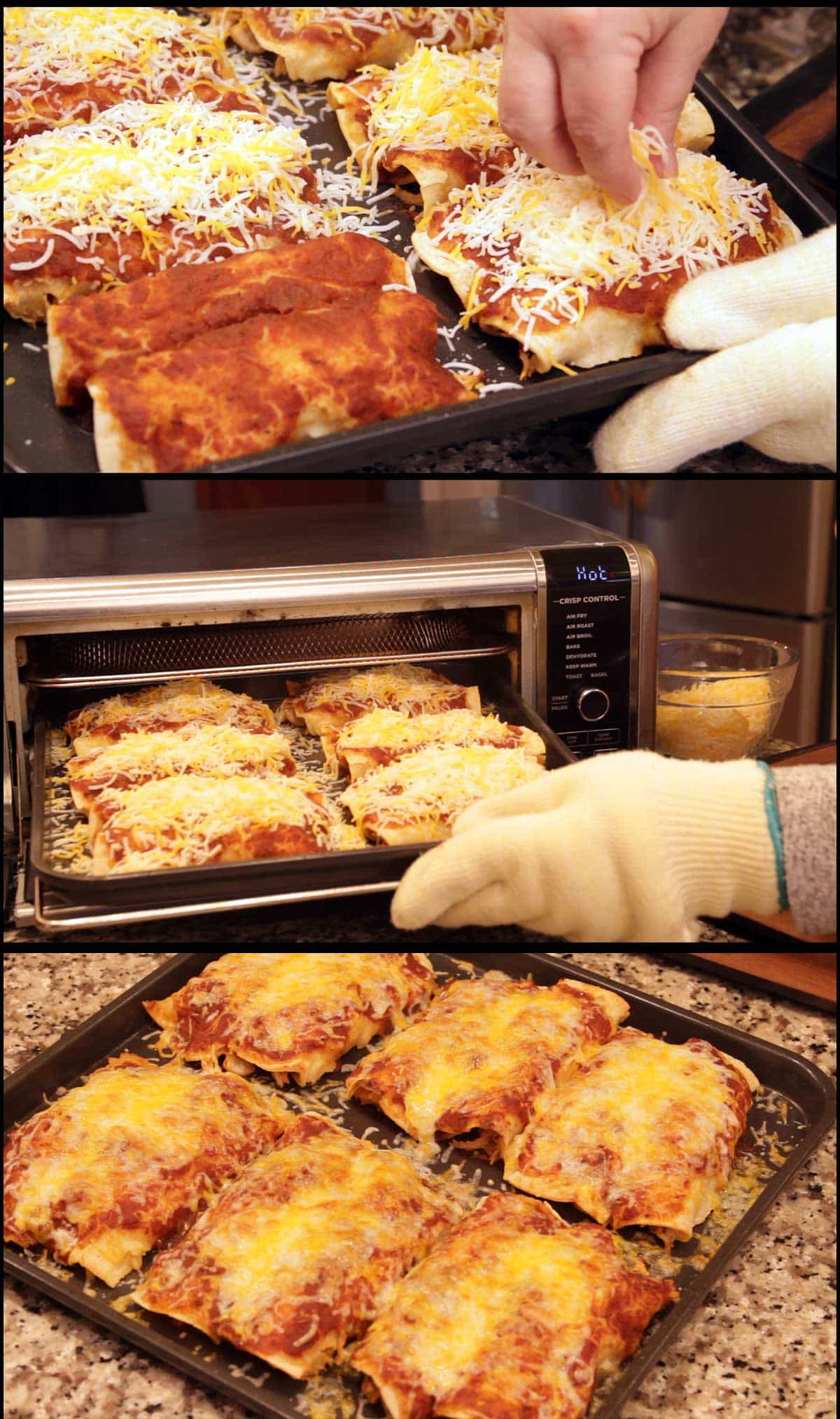 Adding cheese to enchiladas and broiling them