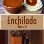 Enchilada Sauce in a glass bowl beside corn tortillas
