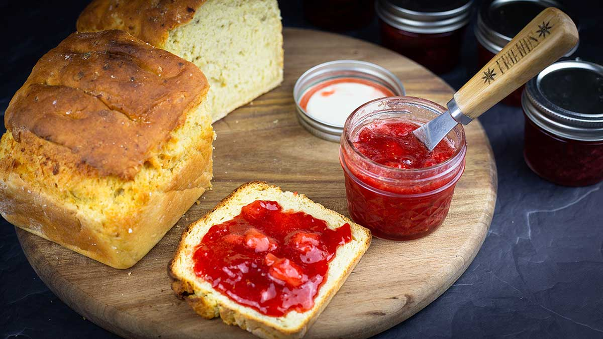 strawberry preserves spread on toast