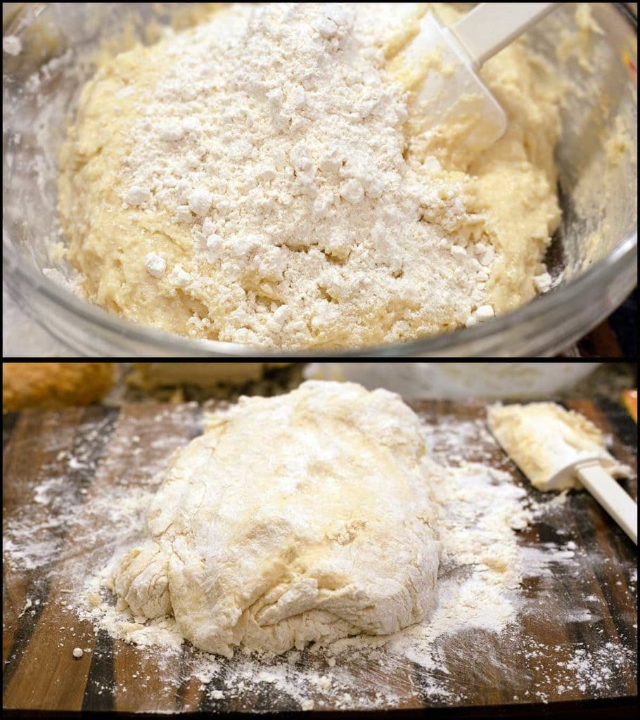 adding more flour to wet dough and showing what the dough should look like