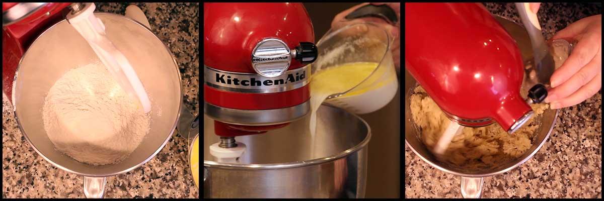 adding flour, milk, half and half, and yeast to make the dough