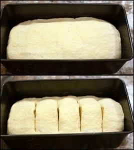 showing large loaf pan with bread