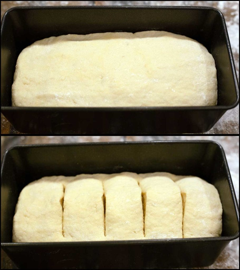 picture showing bread in pan and with slits in top