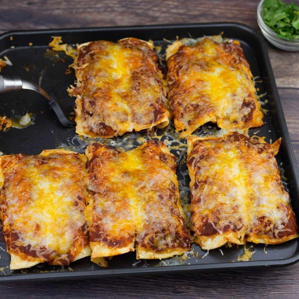 Tray of homemade chicken enchiladas
