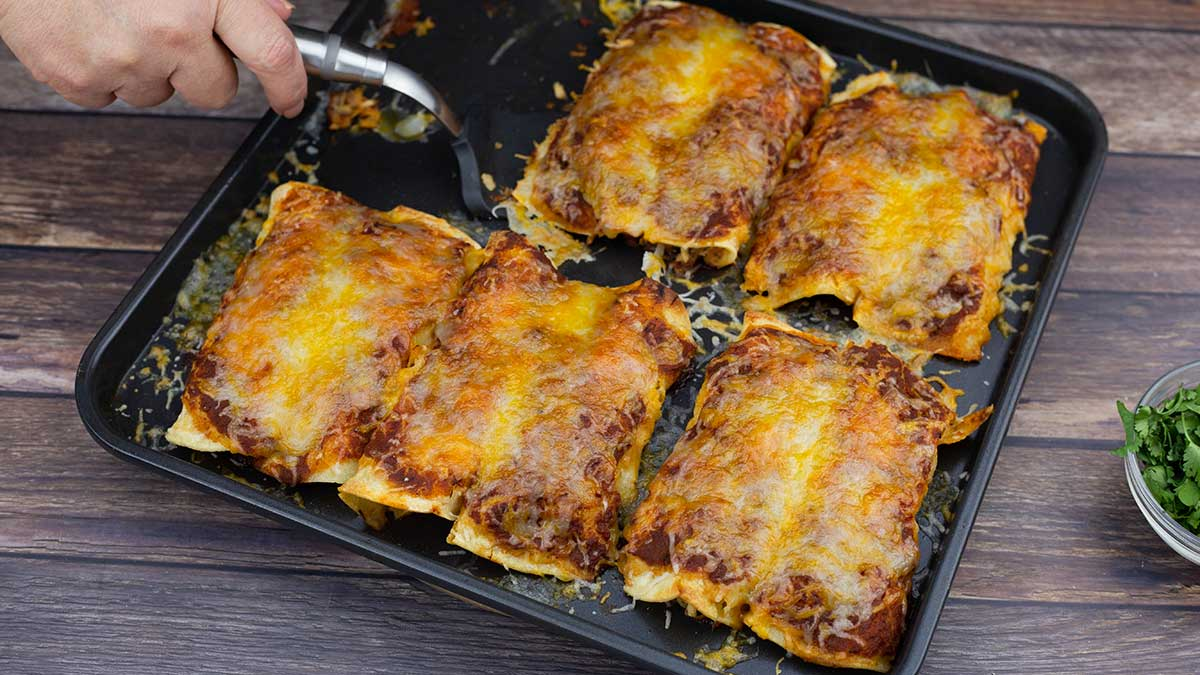 Tray of homemade chicken enchiladas