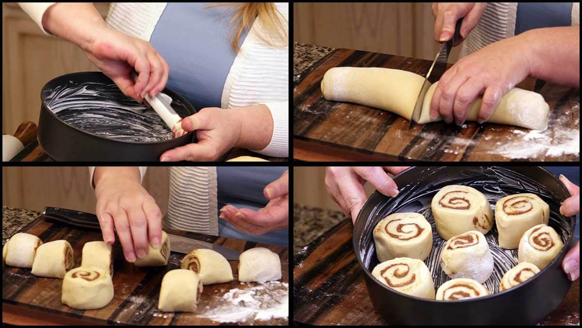 cutting and arranging rolls in pan
