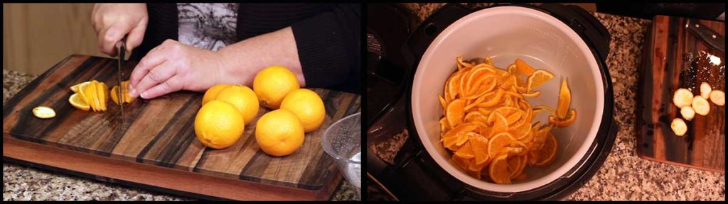 cutting the mandarin oranges