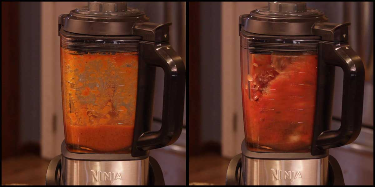 The enchilada sauce is boiling and blending in the cold & hot blender