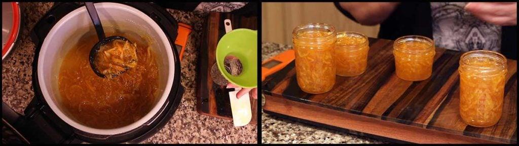ladling the orange marmalade into jars