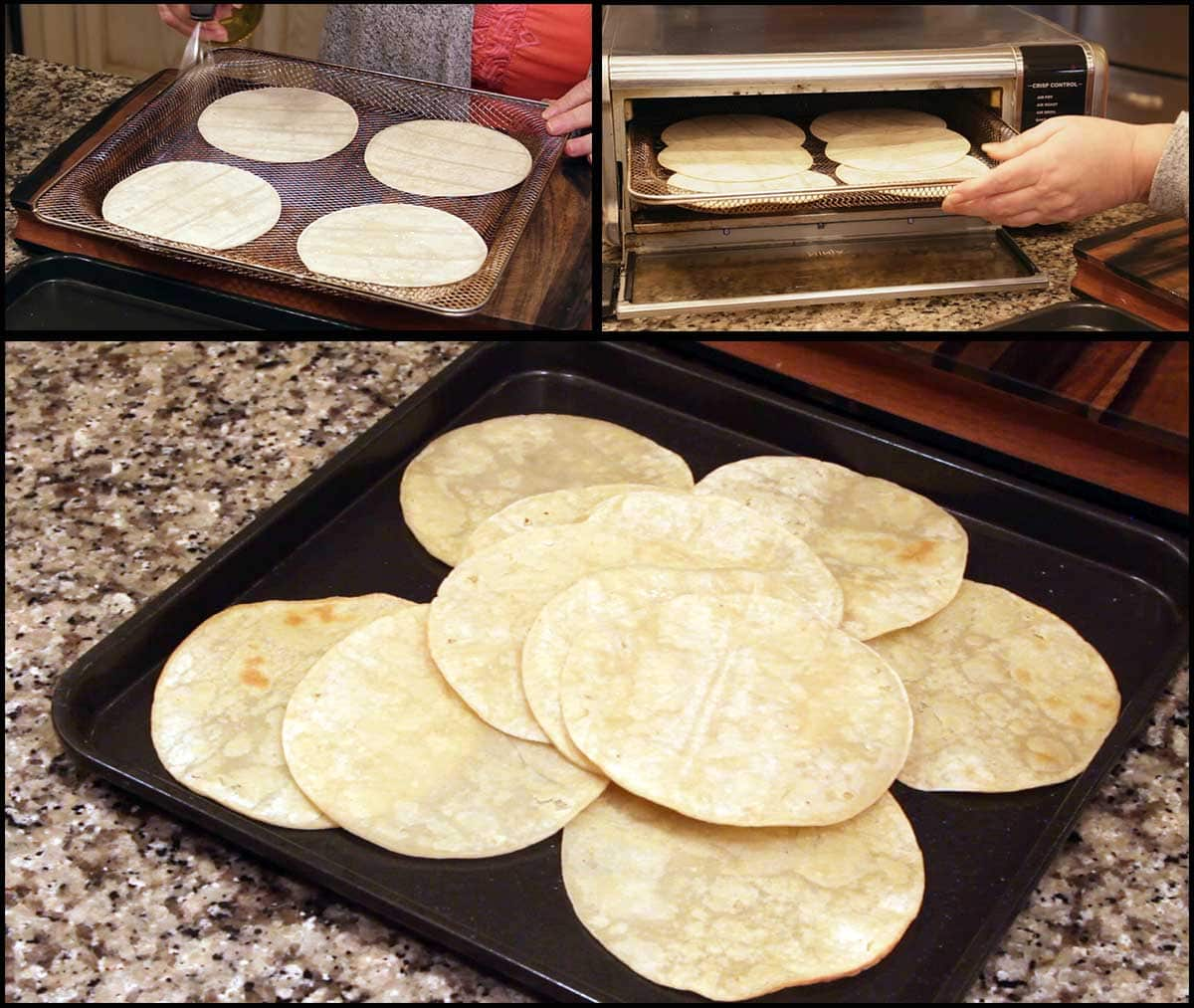 Air frying the corn tortillas