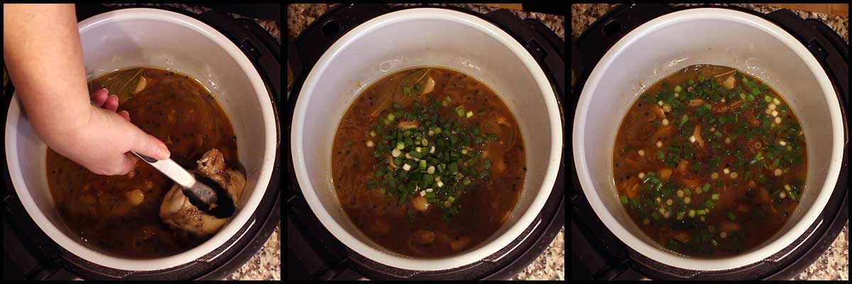removing the chicken and adding green onions to the inner pot