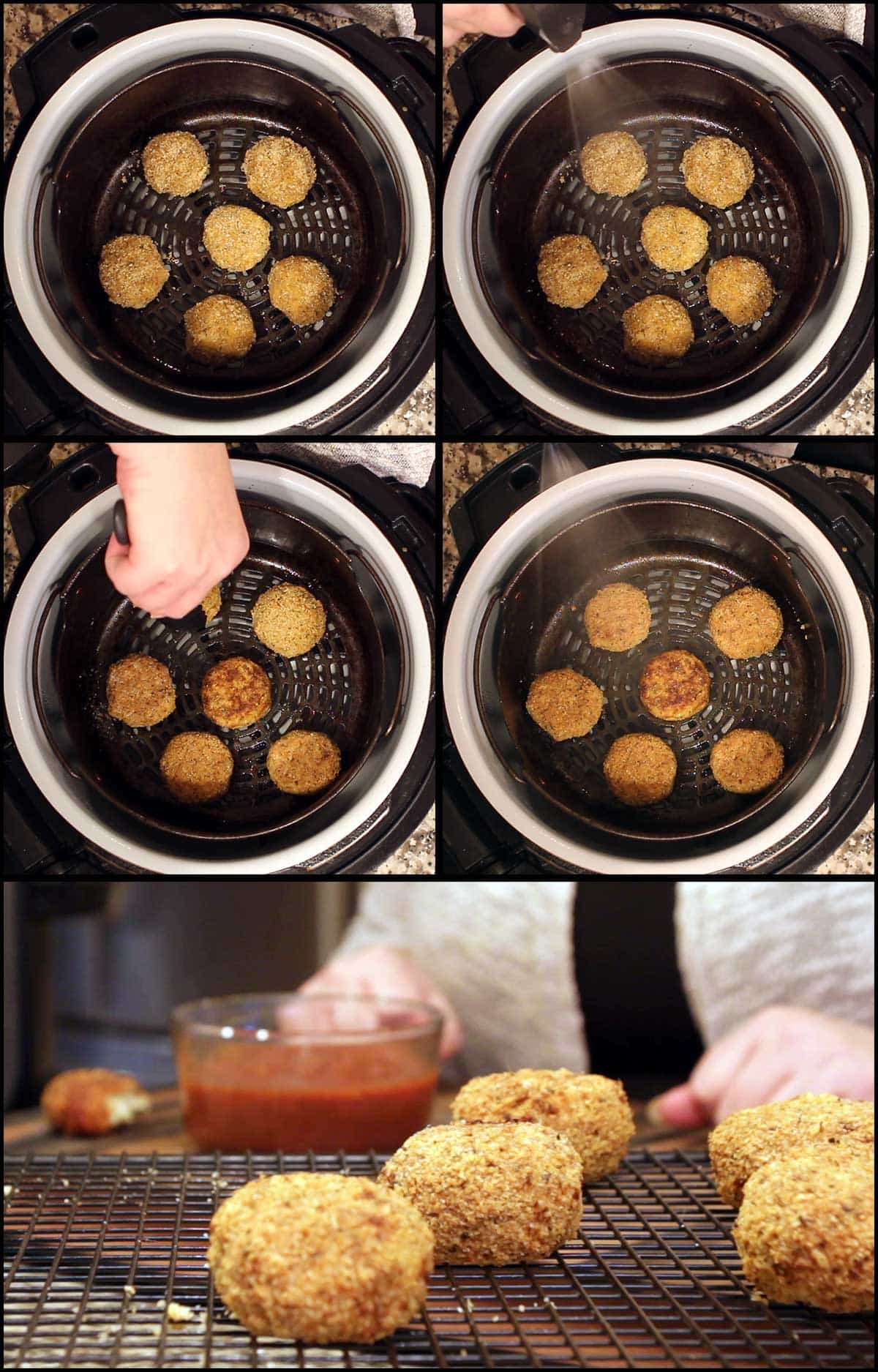collage of pictures showing the arancini balls being air fried
