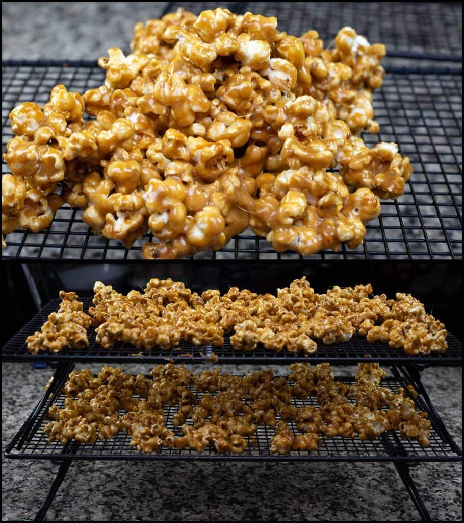 spreading out caramel popcorn on cooling racks
