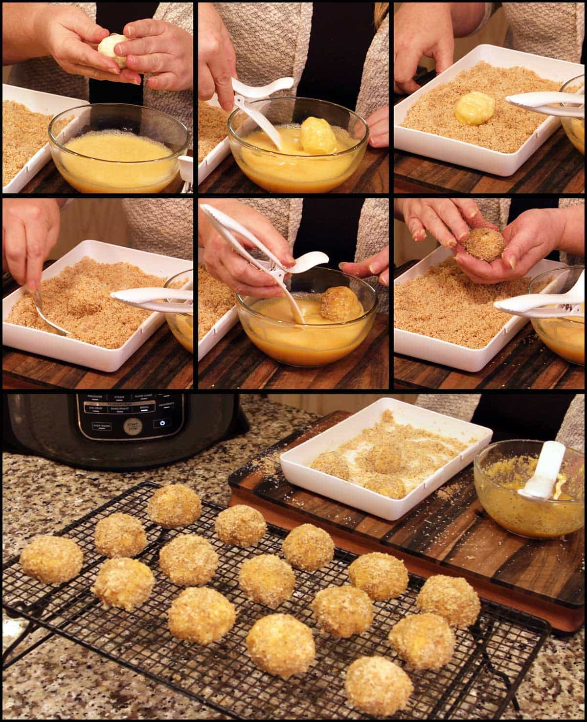 collage of pictures showing the coating process for the cauliflower arancini balls
