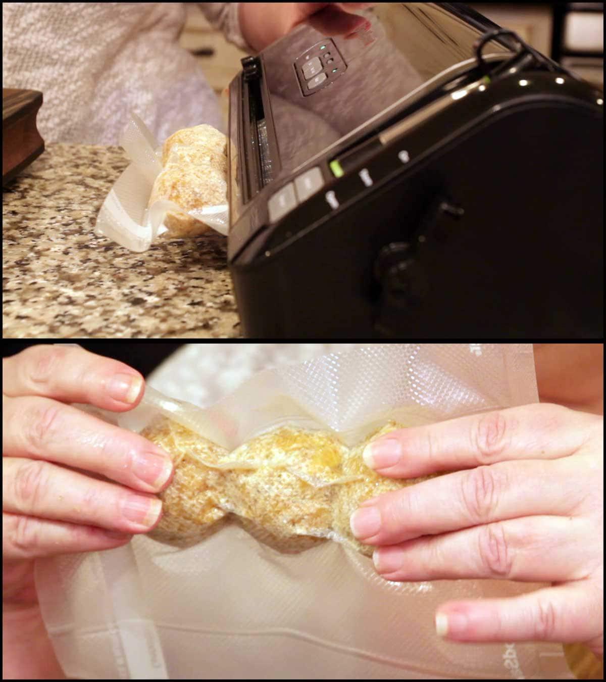 Arancini balls in food saver bag