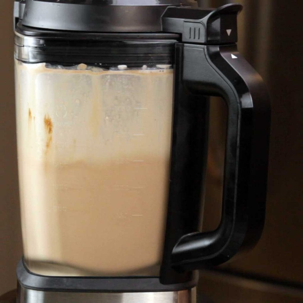 Blending the Chocolate Frosty in the Ninja Foodi Cold & Hot Blender