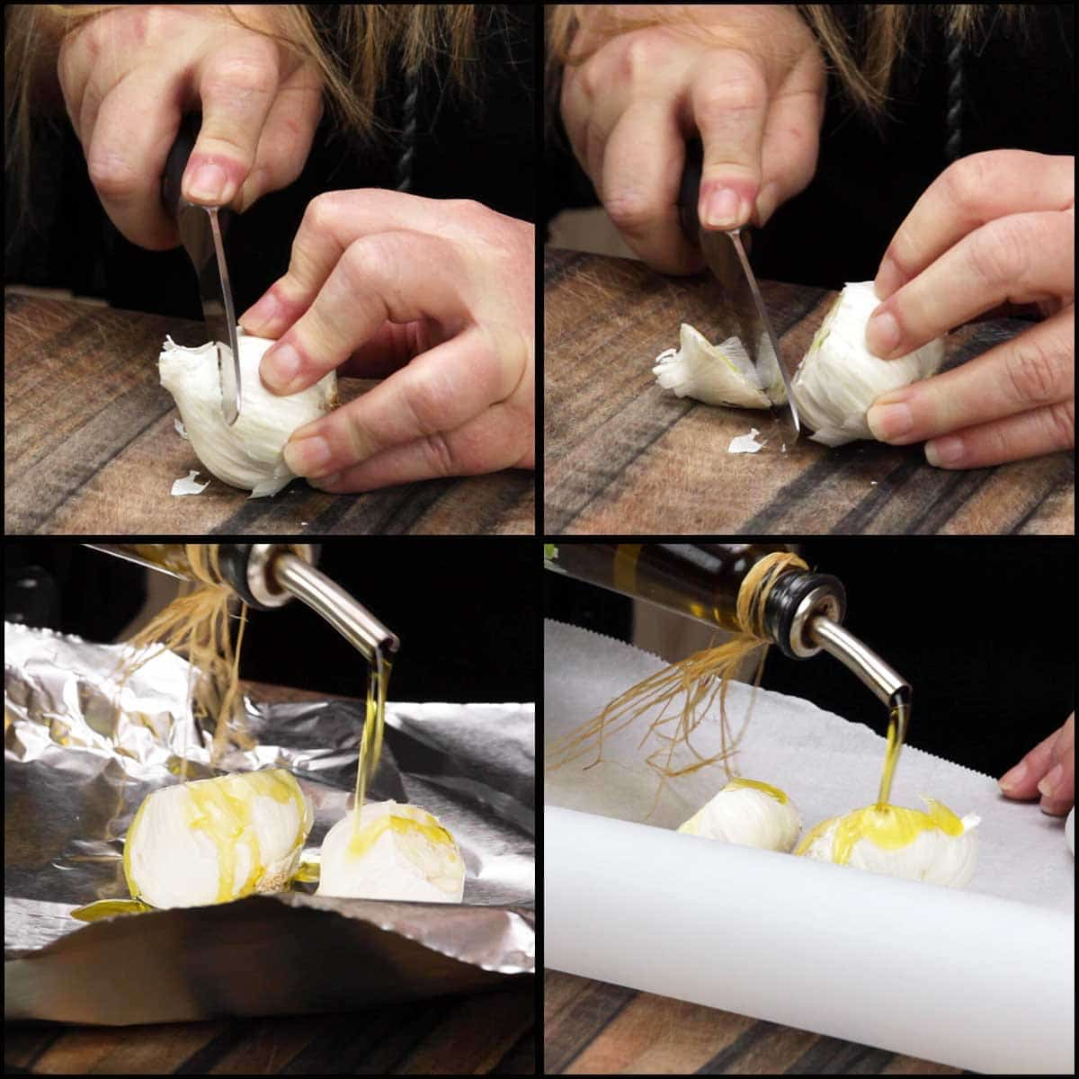 cutting the tops off of the garlic bulbs and drizzling with oil