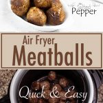 Air Fryer Meatballs in white bowl with a fork and napkin towards the back and the bottom of the picture shows the meatballs in the Ninja Foodi basket.