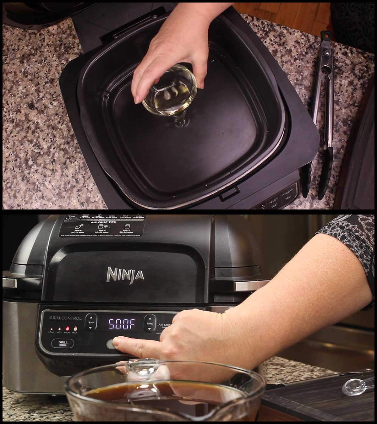 adding oil and preheating to make pot roast in the Ninja Foodi Grill