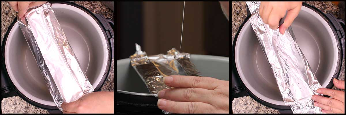 Making the foil pouch and poking holes in it for the butter to drip through