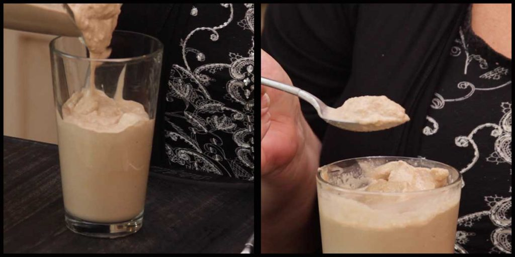 pouring chocolate frosty into a glass and taking a spoonful out
