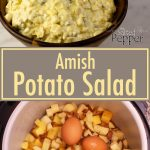 Amish Potato Salad in a wooden bowl with a spoon