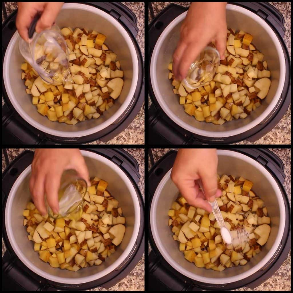 Adding the liquid and salt to the diced potatoes