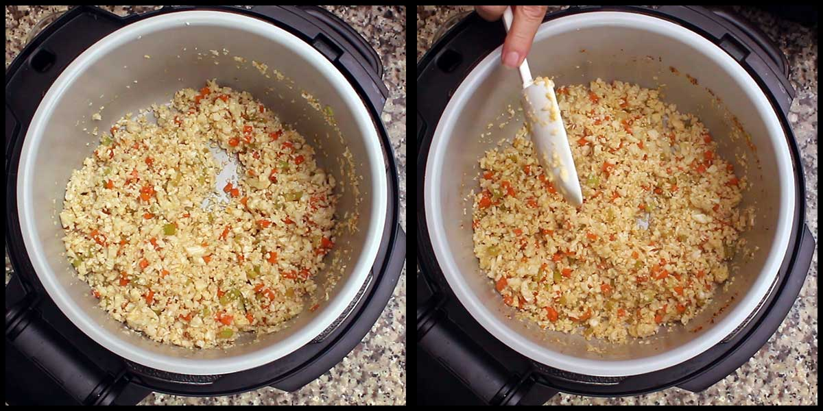 cauliflower rice being stirred during air crisping